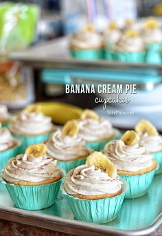 Banana Cream Pie Cupcakes: French vanilla cupcake with banana custard filling and banana buttercream frosting.