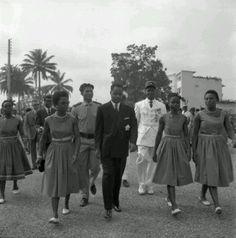 Ahmadou Babatoura Ahidjo, premier president Camerounais a l'occosion de le ceremonie d'independance, le 1er Janvier 1960