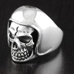 Solid 925 Sterling Silver Heavy Huge Vintage Style Skull Biker Plain Ring