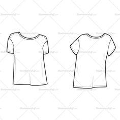 Fashion Flat Vector Template of Women's Boyfriend Tee Shirt - loose fit, draped, wide neck
