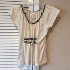 Anthropologie top Off white top with cute trim Anthropologie Tops