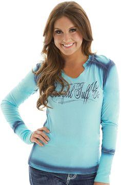 Cowgirl Tuff Womens Crystal Cross Logo Tee Shirt - Blue  $39.97