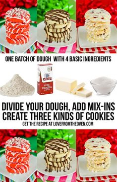 Create three different kinds of cookies from one recipe.  So much flavor from one batch of cookie dough.  Love this idea for Christmas cookies.