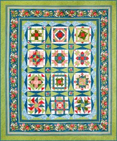 Secret Garden Block of the Month Quilt. The sampler quilt blocks are made with Perfect Patchwork Templates Sets M & S. The sashings are cut with the Long Skinny Sashing Star Set.
