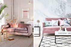 Muebles tapizados en rosa palo