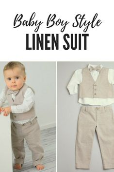 Ring Bearer Outfit Linen Chambray Baby Boy Christening Suit toddler Baptism outfit chino trousers long sleeved linen shirt vest bow tie #affiliate #linen #suit #baby #boy #outfit #style #bowtie #vest #trousers #wedding