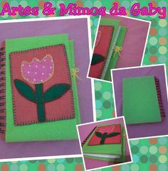 Caderneta com aplicação de tulipa. As anotações do dia-a-dia ganham um charme especial!