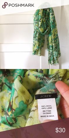J. Crew Floral Wool Scarf Gorgeous lightweight j crew printed floral Scarf. 100% wool. Dry clean only. J. Crew Accessories Scarves & Wraps