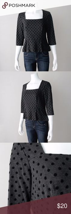 """WHBM Polka Dot Peplum 3/4 Sleeve Top White House Black Market polka dot 3/4 sleeve peplum top with velvet dots. Excellent like new condition. No flaws or wear. Hidden side zipper.   67% viscose 29% nylon 4% spandex. 18"""" pit to pit, 20"""" length, 16"""" sleeves.  Reasonable offers considered!  //sku: 171122792001 white house black market Tops Blouses"""