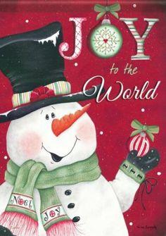 Winter Christmas Joy To World Snowman Double Sided Garden Flag 13 x 18 Christmas Past, Christmas Snowman, Winter Christmas, Vintage Christmas, Christmas Cards, Christmas Ornaments, Christmas Labels, Christmas Wood, Christmas Goodies