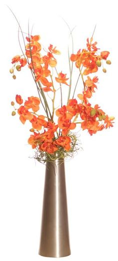 VCO Artificial Orange Orchid Flower Arrangement in Sleek Silver Vase Artificial Plants Orchid Flower Arrangements, Artificial Floral Arrangements, Vase Arrangements, Artificial Plants, Flower Vases, Flower Art, Centerpieces, Orange Orchid, Orange Flowers