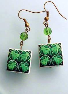 Made in Portugal GREEN Tile Earrings Replicas from OVAR  by Atrio, $14.00 #PTteamEtsy #ChristmasColorsProject #EtsyEurope #Atrio #Portugal