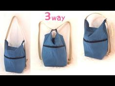 3 way バッグの作り方 / 3 Way Bag Tutorial. Denim Backpack, Denim Bag, Purse Patterns, Sewing Patterns, Tote Pattern, Sewing Hacks, Sewing Tutorials, Bag Tutorials, Leather Bag Pattern