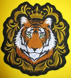Extra Large Embroidered Applique Patch, Regal Tiger in Baroque Style, Jacket Patch, Home Decor, Bike Biker Patches, Sew On Patches, Iron On Patches, Jacket Patches, Tiger Tattoo Design, Fierce Animals, Wild Tiger, Japanese Embroidery, Baroque Fashion