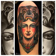 tattoosforpassionnotfashion:    done by xam    If you look at as many tattoos on any given day as I do, you've been seeing a lot of ladies with animals on their heads. Here's one that's better than most by xam. You go, Xam.