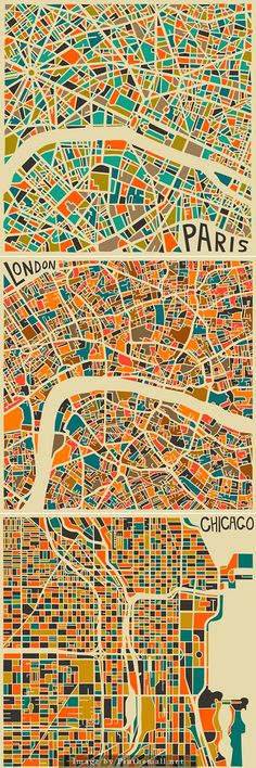 Toronto-based artist e Jazzberry Blue created this series of abstract maps portraying the world's most famous cities: Los Angeles, London, Milan, and more. The self-taught traveling artist uses a combination of bold color palettes and geometric figures to give each map an abstract flare of its own.  http://loves.domusweb.it/maps/ - created via http://pinthemall.net