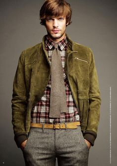 Tomorrowland FW2010 - olive suede jacket, red and black flannel shirt, grey wool tie, skinny brown leather belt, grey wool pant