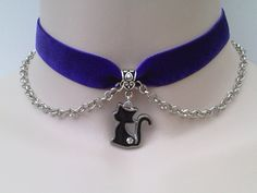 Gorgeous enamel BLACK CAT Charm & Chain    by TwirlyTrinkets, £3.99