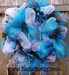 Fabulous Blue and Silver Holiday Wreath, Deco Mesh and lots of sparkle!