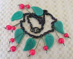 Vintage Bakelite Cherry Dangle Red Cherries Green Glass Leaf Necklace | eBay