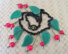 Vintage Bakelite Cherry Dangle Red Cherries Green Glass Leaf Necklace | eBay