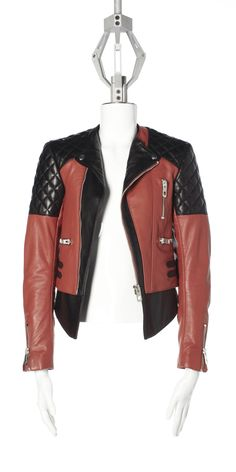 LOVE, LOVE, LOVE.......  Dark Sienne/black Balenciaga Two-tone Lambskin Quilted Biker Jacket