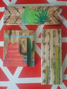Cactus Painting on Repurposed Pallet Wood Wall Art 10 75 8243 x 3 25 8243 with Arrow and Chevron Background Cant even keep potted cactus alive Dont fret Hopefully this painting on repurposed wood will take place of those dead potted plants Painted on Cactus Decor, Cactus Art, Cactus Painting, Painting On Wood, Painting Canvas, House Painting, Diy Painting, Diy Wall Decor, Diy Home Decor