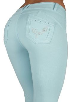 Our Beautiful butt lift fashion pants Premium French Terry Moleton made of top quality Peruvian Cotton. This is a super stretch great fitting pants. Extremely comfortable and perfect for any occasion. 2 Crystal buttons, with 2 designed fake front pockets with silver studs an additional besom like coin pockets. http://vzturl.com/ni57