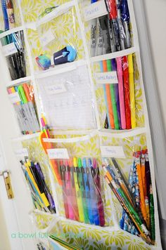 Fantastically simple way to organize all of those markers, glue sticks, scissors, and more - all from one inexpensive shoe organizer! School Supplies Organization, Classroom Organization, Craft Organization, Organisation, Organizing School, Office Supplies, Cleaning Supplies, Organizing Ideas, Quilt Studio
