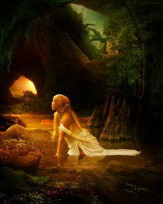 Distant Horizon by InertiaRose on DeviantArt Fantasy Women, Fantasy Art, Female Pictures, Forest Fairy, Midsummer Nights Dream, Amazing Pics, Fantasy Landscape, Fairy Art, Pretty Art