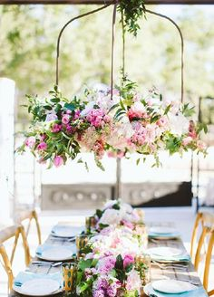 Floral chandeliers are our favorite wedding trend right now!