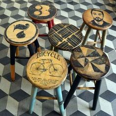 In this image: Decoupage Chairs Funky Furniture, Refurbished Furniture, Paint Furniture, Repurposed Furniture, Furniture Projects, Furniture Making, Furniture Makeover, Painted Bar Stools, Painted Chairs