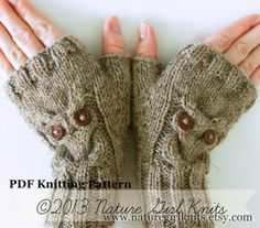 PDF KNITTING PATTERN // Owl Cable Knit Fingerless Mittens // Instant Download