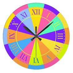 Vibrant Color Wheel Big Roman Numerals Wall Clock