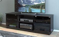 TV Stand Entertainment Center Flat Screen Wood Black Organizer Media Console