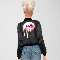 "liveforchanel: "" Kylie Jenner Bomber Jacket 3 Colors RED/GREY/BLACK YOU NEED MESH @savage-sims DOWNLOAD """