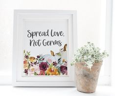 Spread Love Not Germs Sign Fall Bridal Shower Autumn | Etsy