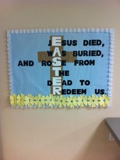Easter Bulletin Board -use white lilies for the flowers.