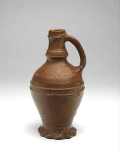 jug, 1425 - 1475 h. 22.3 cm (component) diam. 3.5 cm stoneware, salt glaze, stamped decoration stoneware, (Europe > Western Europe > The Netherlands > Utrecht) (Europe > Western Europe > Germany > Aachen)