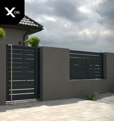 Minimalist aluminum fence in dark grey Entry gate with minimalist stainless steel handl 3 Storey House Design, House Fence Design, Front Wall Design, Fence Gate Design, Gate Designs Modern, Modern Fence Design, Aluminum Fence Gate, Entry Gates, Facade House