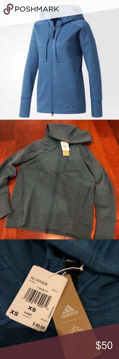 Adidas blue wanderlust hoodie size xs BNWT ADIDAS wanderlust jacket in blue  Retails $80  Really cute jacket, has wanderlust printed down the arm adidas Sweaters