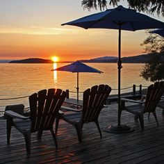 Beautiful westcoast sunset at Davis Bay, BC from beachdeck at Beachside by the Bay Waterfront Suites