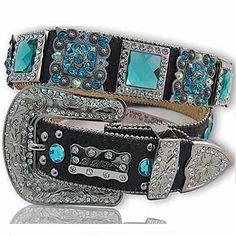 XXL Women's Belt with Turquoise Crystals  The Western Boutique offers a wide selection of beautiful Texas style  Cowgirl Bling Belts. Made of genuine leather and cowhide.    These western belts feature Rhinestones, Crystals, Crosses, Conchos, and Pistols.  http://thewesternboutique.com/rhinestone-cowgirl-bling-western-belts.html