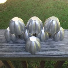 Set of 8, Vintage 1960s Mini Jello Molds or Pans, Fluted Aluminum, 2.5 Inches…