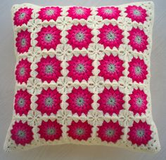the pink flower granny square cushion cover / by handmadebyria, $40.00