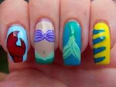 Megs Manicures: Disney Series: The Little Mermaid::::: Shut the front doooooor, I need these nails NOW! Nails Now, Love Nails, How To Do Nails, Fun Nails, Little Mermaid Nails, The Little Mermaid, Disney Little Mermaids, Mermaid Disney, Disney Nails