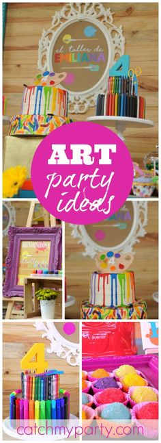 out this classic, yet fun dessert table for an art themed party! See more party ideas at ! Girl Birthday Themes, 6th Birthday Parties, Birthday Party Decorations, Party Themes, Ideas Party, Birthday Ideas, Birthday Table, 22nd Birthday, Cake Birthday
