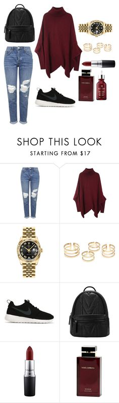 """2"" by queentanya ❤ liked on Polyvore featuring Topshop, Rolex, NIKE, MAC Cosmetics, Dolce & Gabbana Fragrance, Erborian, women's clothing, women's fashion, women and female"