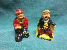 vtg Salt & Pepper Shakers- Chalkware Dick Tracy & Junior