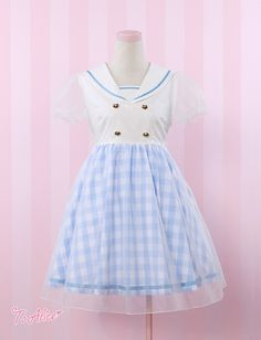 To Alice - Organza Gingham Sailor Dress